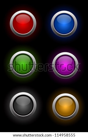 set of shiny neon glass buttons for rollover effects - stock vector