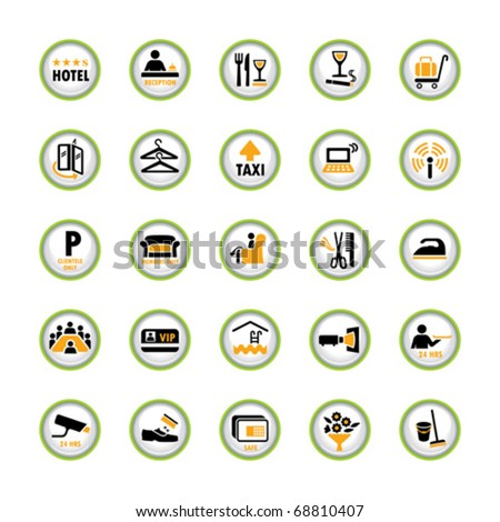 Set of shiny pictogram buttons for hospitality industry - stock vector