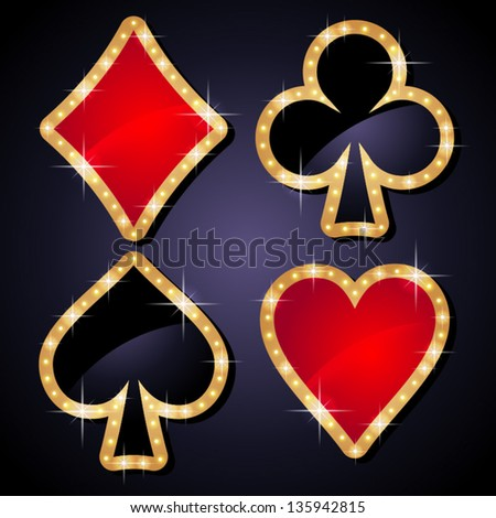 Set of shiny poker icons black and red. - stock vector
