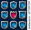 Set of shiny shields - stock vector