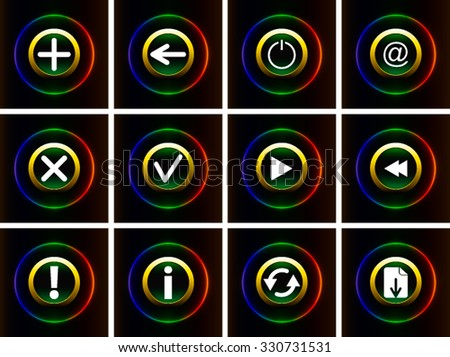 Set of shiny web icons 12 pieces on a black background. Colored vector illustration - stock vector