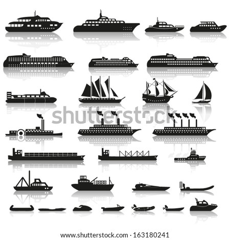 Set of ships and boats - stock vector