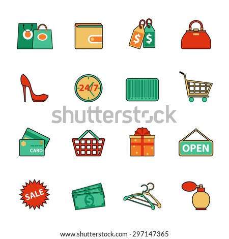 Set of shopping and sale line icons. Consumer items for discount offers, e-commerce, shopping for women, payment methods and other commercial goals. Vector elements for shopping infographics - stock vector