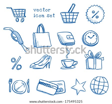 Set of shopping and voucher icons, hand drawn sketch vector illustration - stock vector