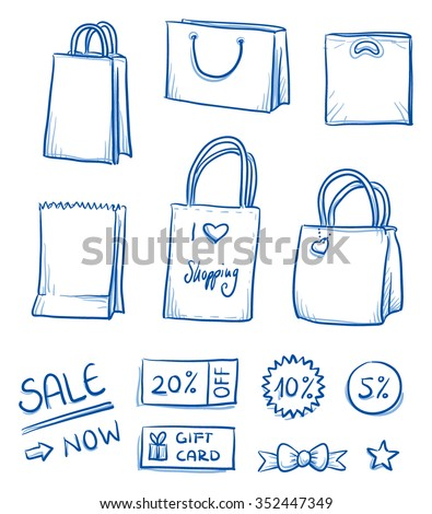 Set of shopping bags, paper and plastic bags, sales sticker. Hand drawn vector illustration.