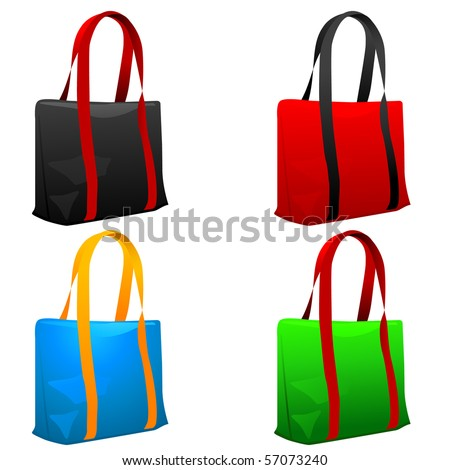 Set of shopping bags. Vector illustration. - stock vector