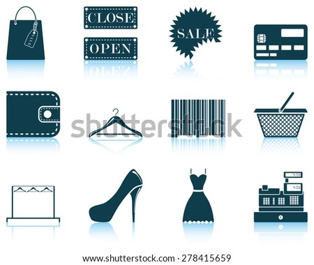 Set of shopping icon. EPS 10 vector illustration without transparency. - stock vector