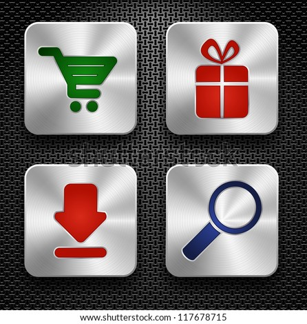 Set of shopping icons. Steel buttons over metallic textured background - stock vector