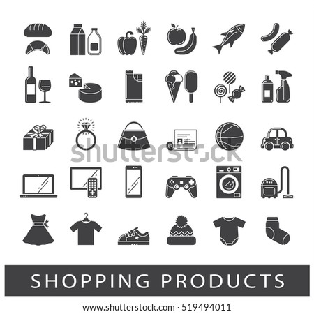 Set of shopping icons. Various shopping products. Premium quality symbol collection.