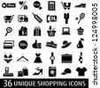 Set of 36 shopping icons. Vector illustration - stock vector