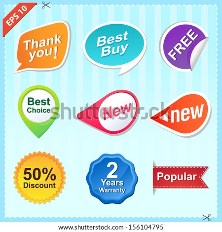 Set of Shopping Labels - stock vector