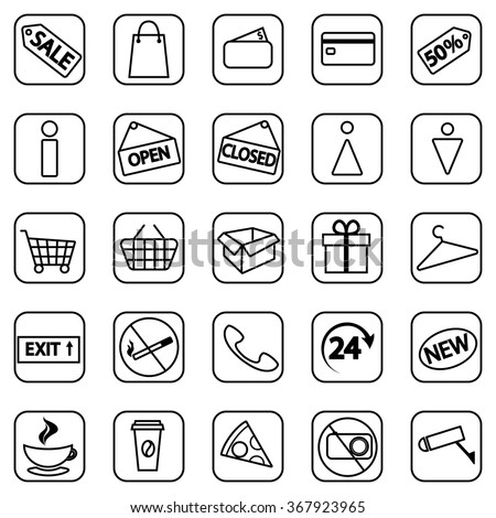 Set of shopping line icons. Vector