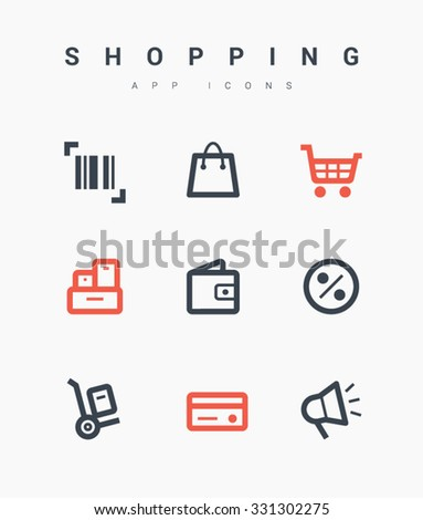 Set of shopping line vector icons for websites and mobile minimalistic flat design. Collection modern trend concept design style illustration symbol. Isolated minimal single flat icons - stock vector