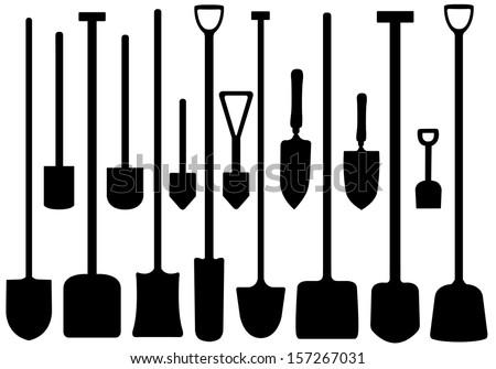Set of shovels - stock vector