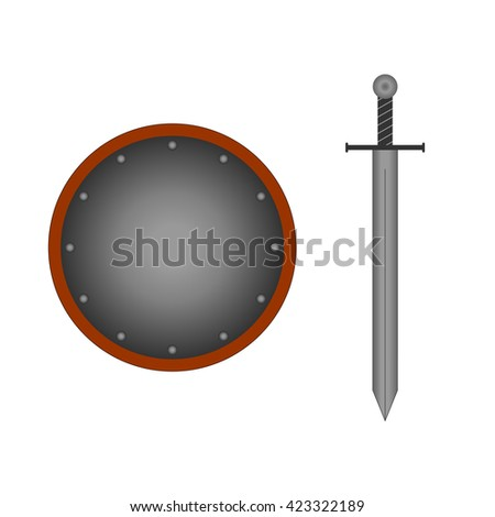Set of sign round shield and sword silver. Combat icon isolated on white background. Mark with volume effect. Symbol of a steel elements. Logo for military and security. Stock vector illustration - stock vector