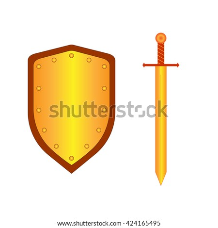 Set of sign shield and sword gold. Combat icon isolated on white background. Mark with volume effect. Symbol of a bronze elements. Logo for military and security. Stock vector illustration - stock vector