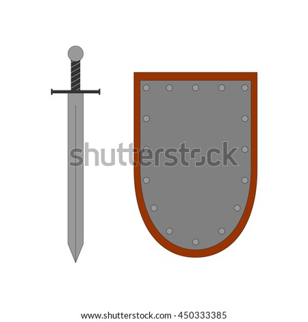 Set of sign shield and sword silver. Combat icon isolated on white background. Color flat mark. Symbol of a steel elements. Logo for military and security. Stock vector illustration - stock vector