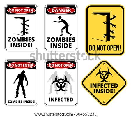 Set of sign Zombie outbrake inside building biohazard quarantine area. Vector illustration   - stock vector