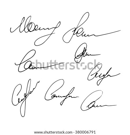 Set of signatures isolated on a white background. Hand written signatures. Business autograph illustration - stock vector
