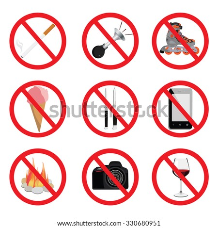 Set of signs for different prohibited activities. No signs. No smoking. No drinking. No photographing