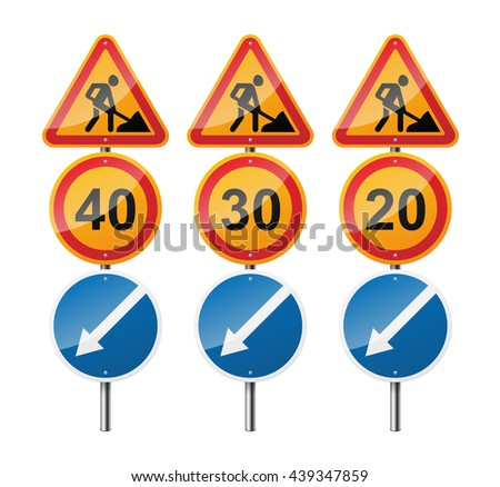 Set of 3 signs, isolated on white background. Road works. Speed limit. Pointer. EPS10 vector illustration. - stock vector