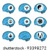 set of signs on blue human brain. girls. radiation. hurricane. pacifism. yin yang. toxic. cannabis - stock vector