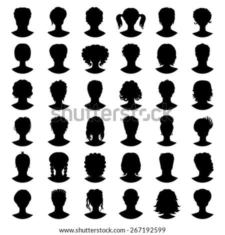 Set of silhouette avatars of girls and guys on white background. Vector illustration - stock vector