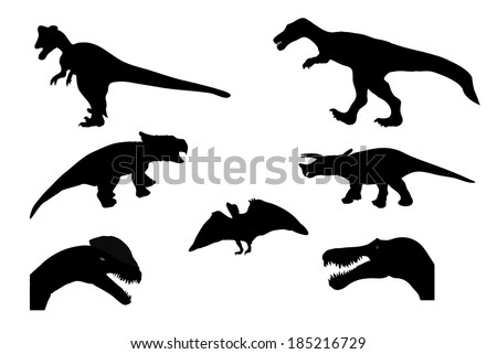 Set of Silhouette Dinosaur. Black Vector Illustration. - stock vector