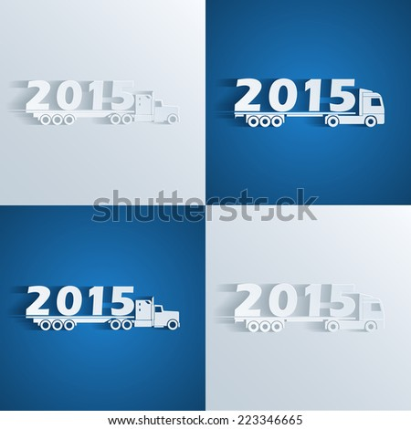 set of silhouette icons of trucks with 2015 number, new year concept - stock vector