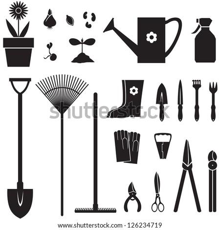Set of silhouette images of garden equipment - stock vector