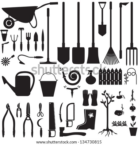 Set of silhouette images of garden equipment - stock vector