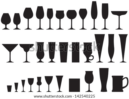 Set of silhouette images of glass glasses for different drinks - stock vector