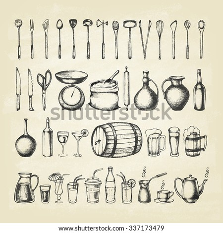 Set of silhouette kitchen tools  and set of different hand drawn beverages. Doodle style. Set of Cutlery. Retro vintage style. Vector illustration.  - stock vector
