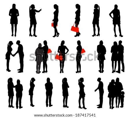 Set of Silhouette People. Vector Illustration. - stock vector