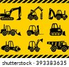 Set of silhouette toys heavy construction and mining machines in a flat style. Different kind of toys heavy equipment and machinery isolated on yellow background. Vector illustration. - stock vector
