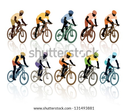 Set of silhouettes, cyclists in the bicycle race. Sport illustration. - stock vector