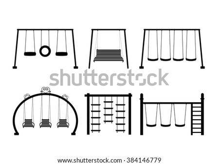 Set of silhouettes equipment in a playground,Vector illustrations