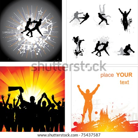 Set of silhouettes for sports championships - stock vector