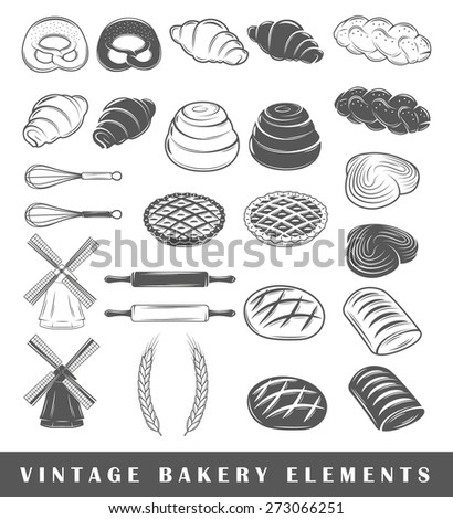 Set of silhouettes isolated on white background. Retro bakery elements. Vector illustration - stock vector