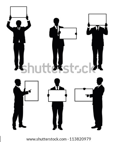 Set of silhouettes of a businessman holding a board. - stock vector
