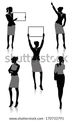 Set of silhouettes of a businesswoman holding a board. - stock vector
