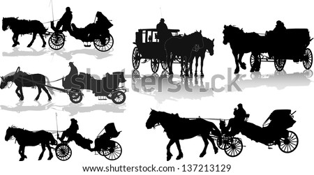 Set of 6 silhouettes of a horse put to a cart - stock vector