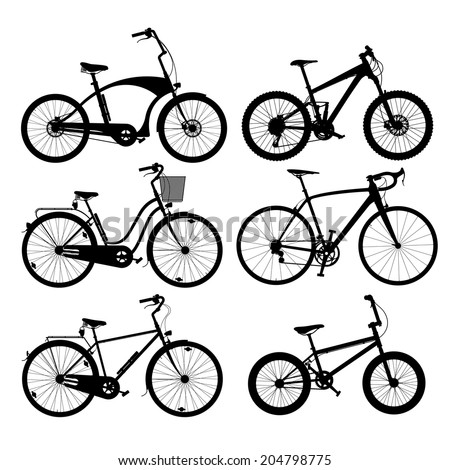 Set of silhouettes of bikes, isolated on white. - stock vector