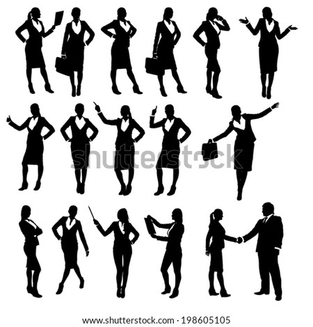 set of silhouettes of businesswoman in different poses - stock vector
