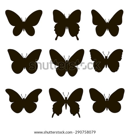 Set of silhouettes of butterflies on a white background.  - stock vector