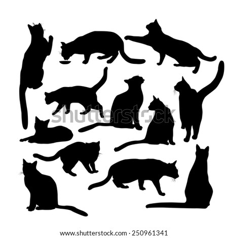 Set of silhouettes of cats. Vector - stock vector