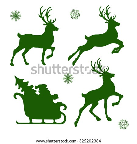 Set Silhouettes Christmas Reindeer Santa Vector Stock ...