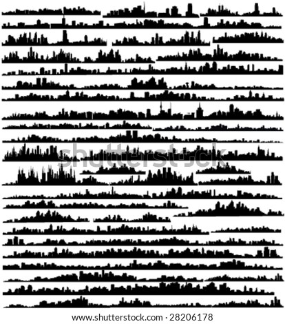 Set of silhouettes of cities a vector - stock vector