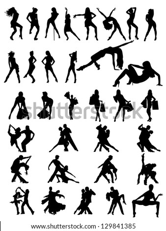 Set of silhouettes of  dancing couple and girls. Vector illustration