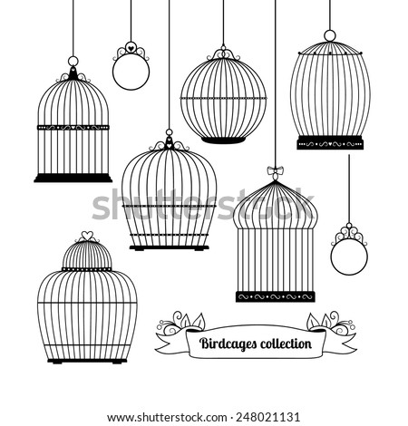 Set of silhouettes of different forms of birdcages. Vector illustration - stock vector